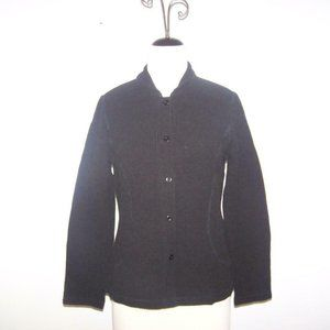 Eileen Fisher Waffle Knit Jacket Medium Black Button Front Stretch Long Sleeves